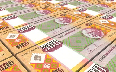Angolan kwanza bills stacks background. Computer generated 3D photo rendering.