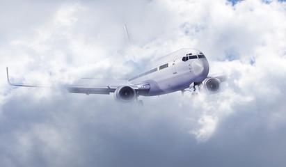 Passagierflugzeug, Flugzeug in den Wolken