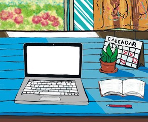 working from home/cartoon painting of working desk at home