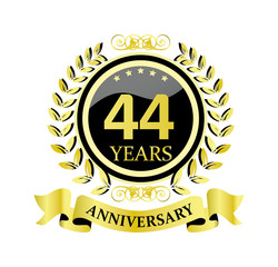 44 anniversary with glossy golden wreath and ribbon