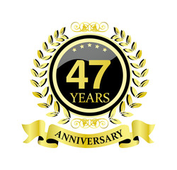 47 anniversary with glossy golden wreath and ribbon