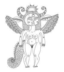 Vector black and white illustration of mystic creature, nude wom