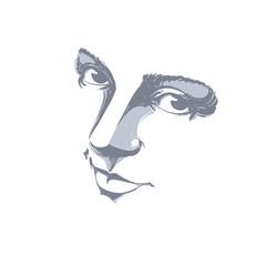 Monochrome silhouette of melancholic  attractive lady, face feat