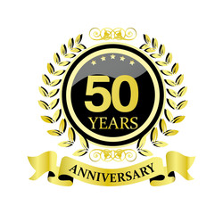 50 anniversary with glossy golden wreath and ribbon