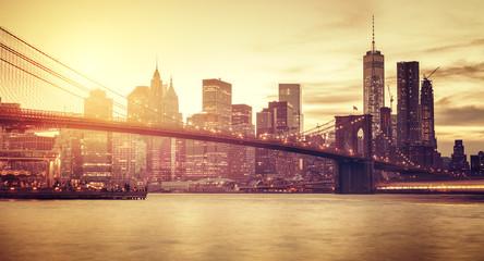 Obraz Retro stylizowany Manhattan, Nowy Jork, USA - fototapety do salonu