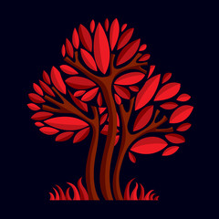 Artistic stylized natural design symbol, tree illustration