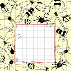 Child's drawings of insects in a notebook