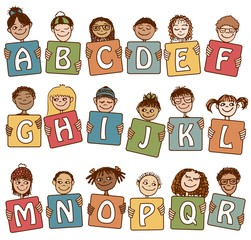 Cute alphabet with hand drawn faces