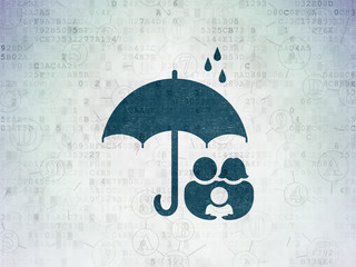 Safety concept: Family And Umbrella on Digital Paper background