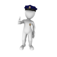 3d policeman thumbs up