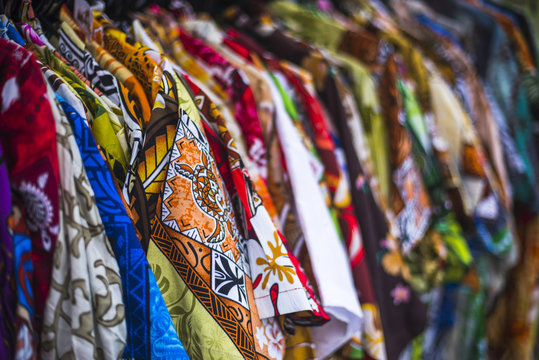 Hawaiian shirts for sale at Rarotonga Saturday Market (Punanga Nui Market), Avarua Town, Cook Islands, South Pacific