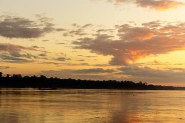 Color of the sky that morning Mekong River Ubon Ratchathani, Tha