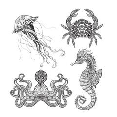 Sea marine doodle set