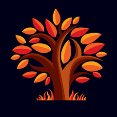 Art vector illustration of tree with orange leaves, autumn seaso