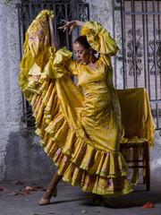 Mature woman dancing flamenco