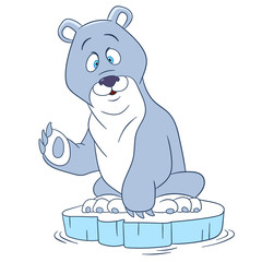 cute and happy cartoon polar bear sitting on an ice floe and waving his paw