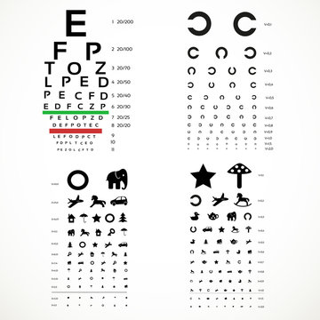 Various versions of the table for eye tests