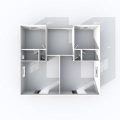 3d interior rendering of paper model apartment