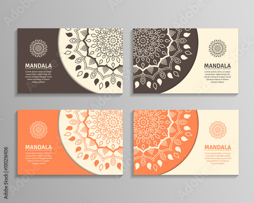 Ornamental template for business card flyer or banner with round ornamental template for business card flyer or banner with round mandala vector ornamental mandala reheart Image collections