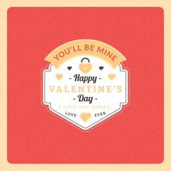 Valentines Day Vintage Badge. Vector Illustration. Design Template with Red Background