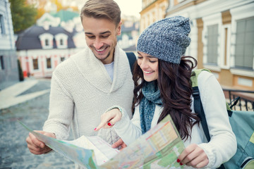 Young couple travels