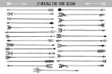 Vector vintage decorative arrows set. Hand drawn vector design elements