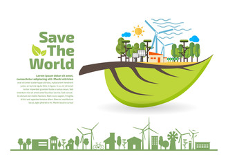 Eco Friendly, green energy concept, save the world vector illustration, flat design