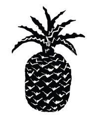 Pineapple black ink silhouette - vector illustration of a tropical fruit, hand drawn in primitive folk art, retro comic style. As simple citrus symbol, fresh food sign, label, sticker, design element.