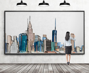 Woman drawing New York