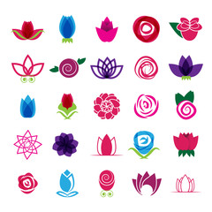 Rose Icons Set - Isolated On White Background - Vector illustration, Graphic Design. For Web, Websites, Print, Presentation Templates, Mobile Applications And Promotional Materials