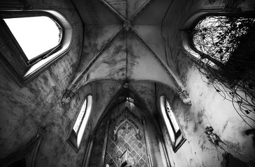 Inside of old ruined church. Black and white image