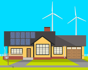 Beautiful private eco-house at which installed solar panels and wind turbines in order to save on payment services. Vector illustration