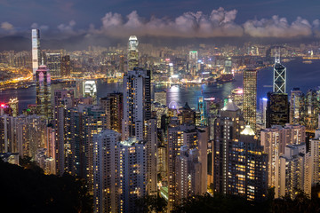 Hong Kong's skyline viewed from the Victoria Peak in the evening.
