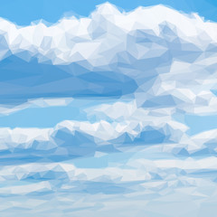 Low poly design triangular blue sky clouds  triangle polygon