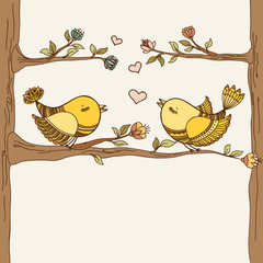 Romantic card with flying birds in love. Vector illustration