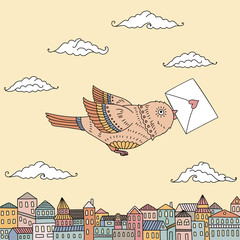Cute illustration of a bird flying over the city with a letter and space for your text