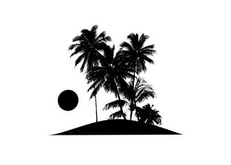 Tropical Scene Island Sunset Illustration Wall mural