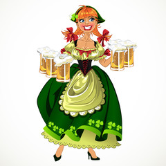 Pretty leprachaun girl in green with beer
