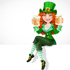 Beautiful red-haired girl leprechaun sitting on the banner white