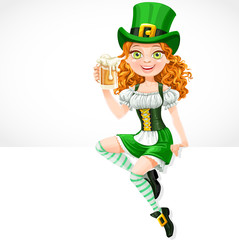 girl leprechaun sitting on the banner white and offers a beer