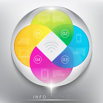 Abstract info graphic with circle elements. Colorful and glossy on the white panel. Wireless technology. 4 parts concept. Vector illustration. Eps 10.