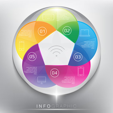 Abstract info graphic with circle elements. Colorful and glossy on the white panel. Wireless technology. 5 parts concept. Vector illustration. Eps 10.