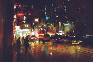 painting of night street with colorful lights Fotomurales