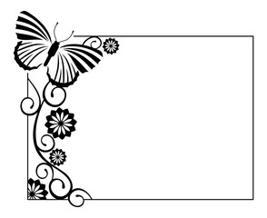 Horizontal black and white frame with butterflies