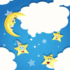 Seamless pattern of cartoon stars, moon and clouds