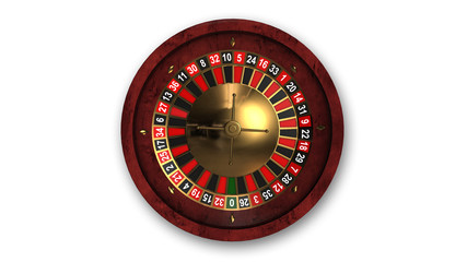 Roulette wheel isolated on white background, top view