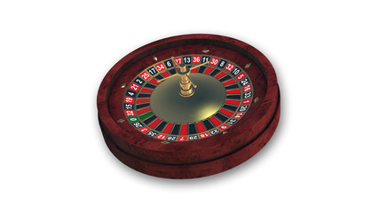 Roulette wheel isolated on white background, gambling game