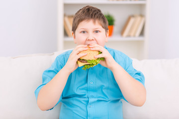 Chubby kid is eating a burger.