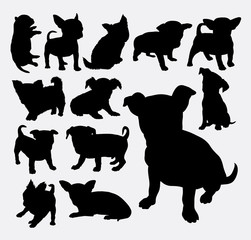 Puppy dog cute pet animal silhouette. Good use for symbol, logo, web icon, mascot, cutting sticker, pet sign, or any design you want. Easy to use.