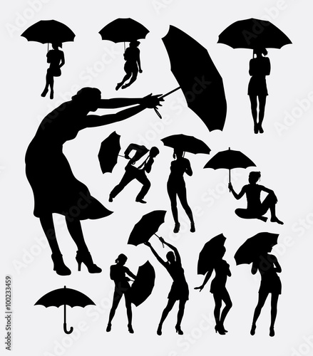 f2fe402e0c2 People with umbrella action silhouette. Good use for symbol, web icon,  logo, sign, mascot, or any design, you want. Easy to use.